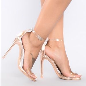 Fashion Nova She's a Winner Heels Rose Gold